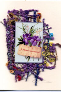 Merry Christmas Irises, handmade holiday card by Curmudgeon Cards