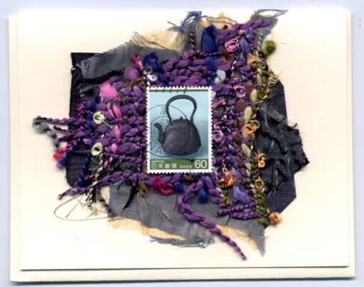 Asian Teapot with Purple Scarf by Curmudgeon Cards