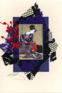 Japanese Geisha Woodblock Handmade Card
