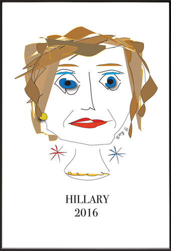 Hillary Clinton original illustration by Elisa Goodman, Curmudgeon Cards