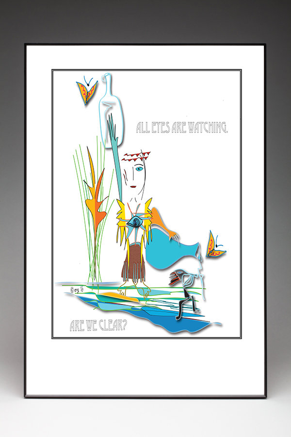 The Water Priestess Poster - Custom Illustration by Curmudgeon Cards